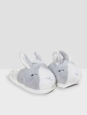 Chaussons lapins 3d gris.