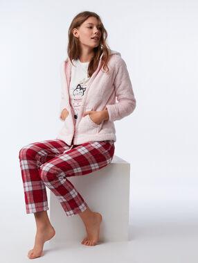 Pyjama trois pièces chaton de noël rose.