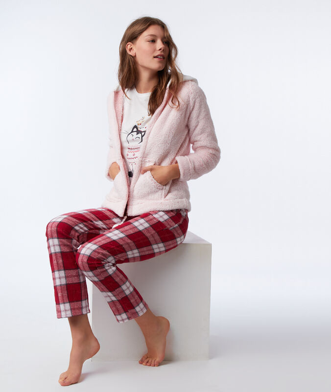 Pyjama trois pièces chat rose.