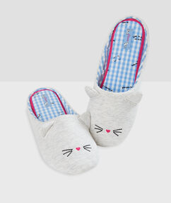 Chaussons chat gris.