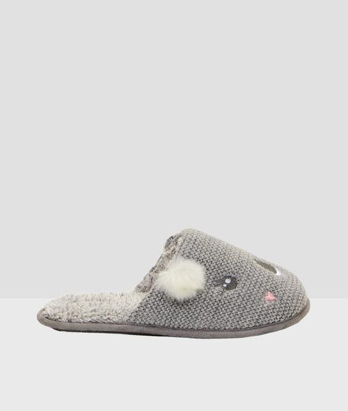 Mules koala tricotées et doublées