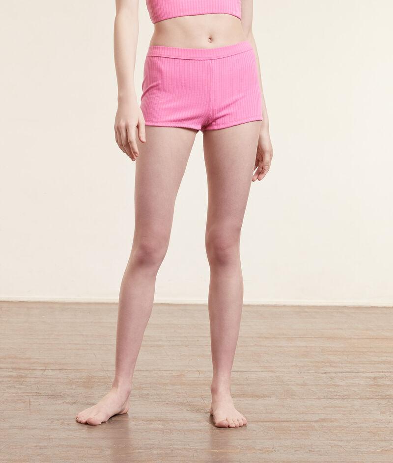 Ribgebreide boy legs-shorts;${refinementColor}
