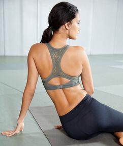 Sportbeha, push-up effect en zwemmersrug - medium ondersteuning kaki.