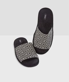 Open pantoffels met print zwart.