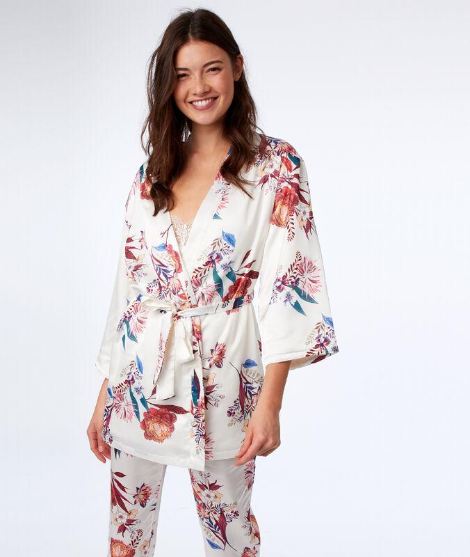 Kimono doublé polaire ecru.