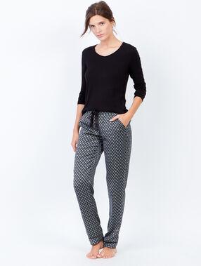Pantalon fluide imprimé noir.
