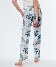 Pantalon met print wit.