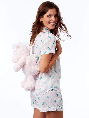 Sac à dos range-pyjama dinosaure ecru.