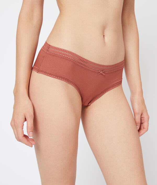 Shorty en microfibre, bords dentelle;${refinementColor}