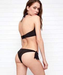 Bas de bikini brésilien irisé - high leg noir.
