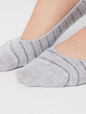 2 paires de socquettes invisibles gris/beige.