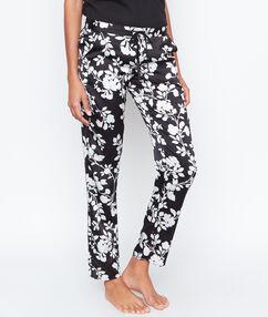 Pantalon satin fleuri noir.