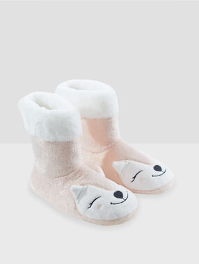 Chaussons bottines animaux rose.