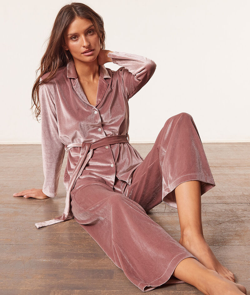 Chemise de pyjama à nouer en velours;${refinementColor}