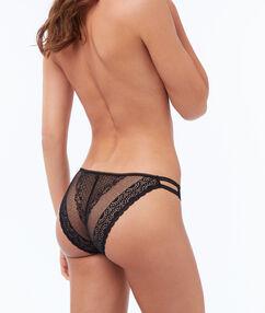 Broekje kant met elastische banden zwart.