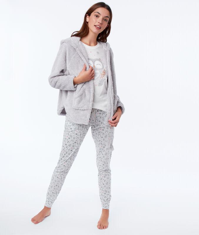 Pyjama trois pièces hibou gris.