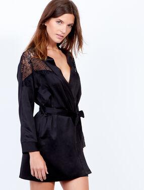 Deshabille kimono satin dentelle noir.