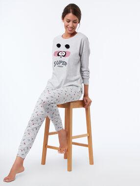 T-shirt met tekst en pompons grijs.