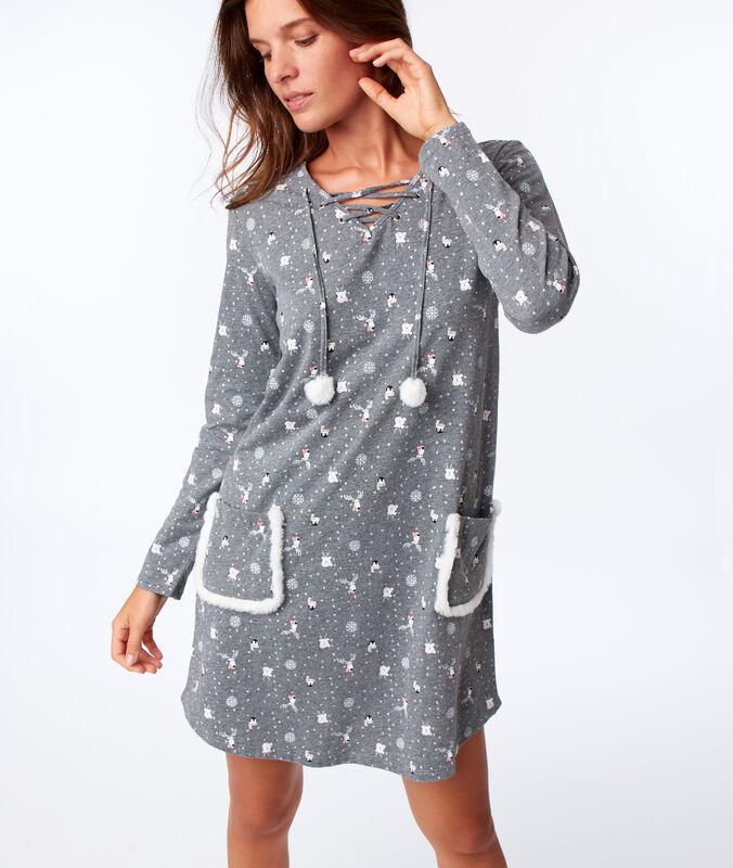 Chemise de nuit à poches anthracite.