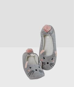 Pantoffels muis grijs.