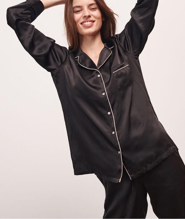 Pyjamavest in zijde;${refinementColor}
