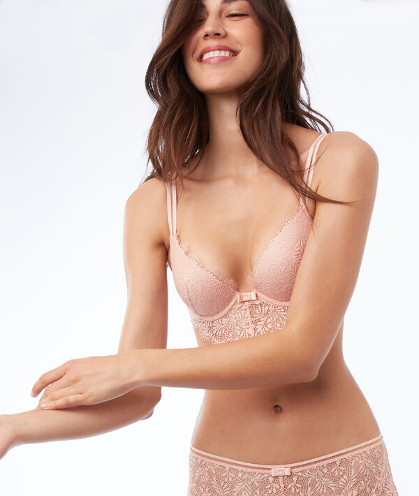 Soutien-gorge n°2 - Push-up plongeant en dentelle, basque descendante;${refinementColor}