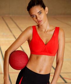 Sportbeha, verwijderbare vulling en gekruiste rug - medium ondersteuning rood.