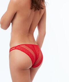Culotte dentelle à bandes élastiques vermillon.