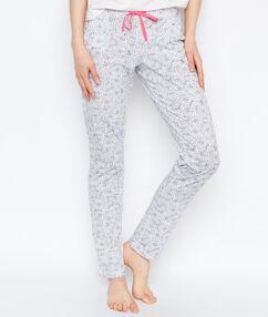 Pantalon imprimé animalier gris.