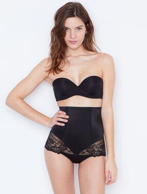 Culotte taille très haute micro et dentelle niveau 3 : silhouette remodelée noir.