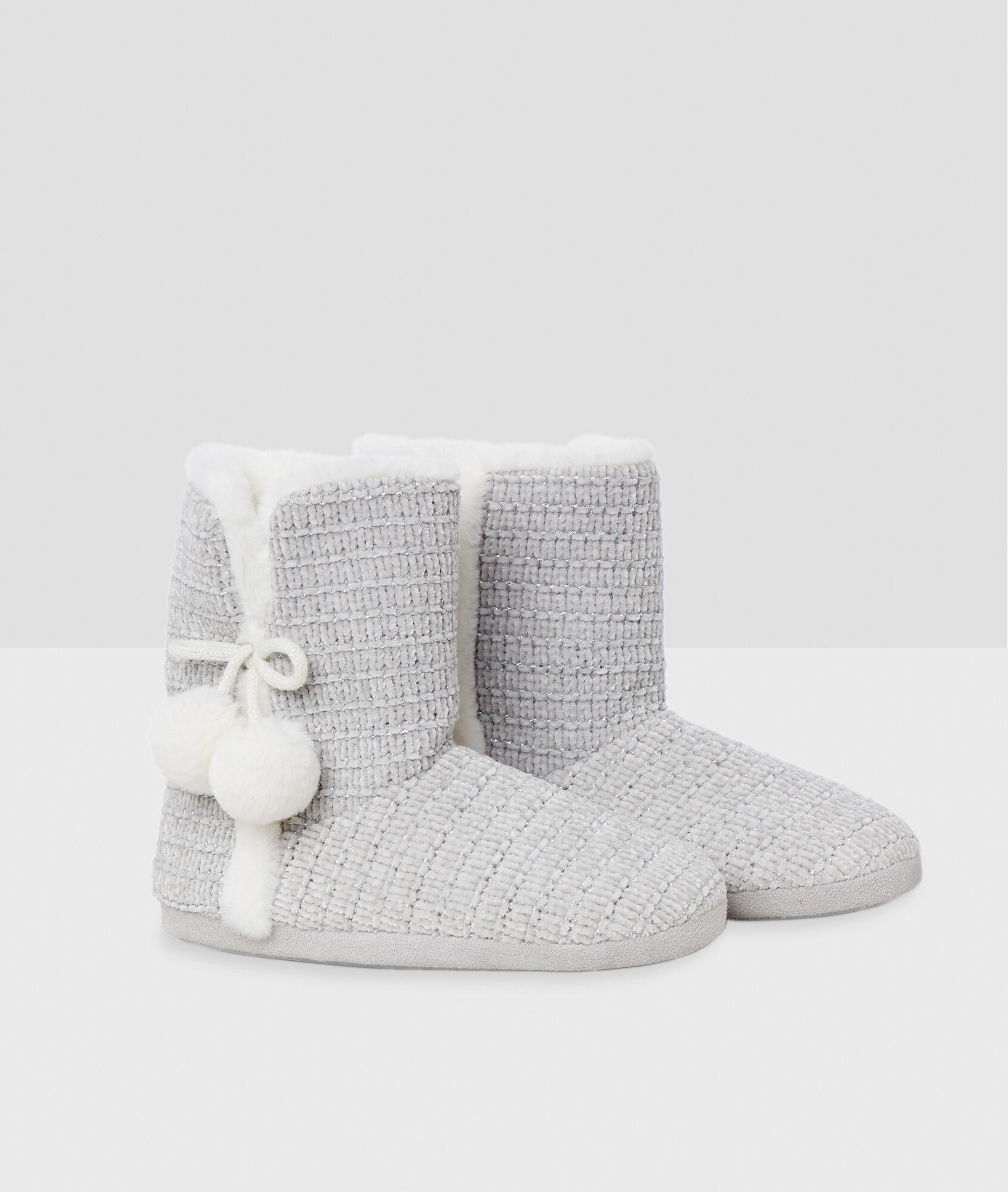 couleurs et frappant 2019 real prix bas Chaussons bottines à pompons - CHENILU - GRIS - Etam