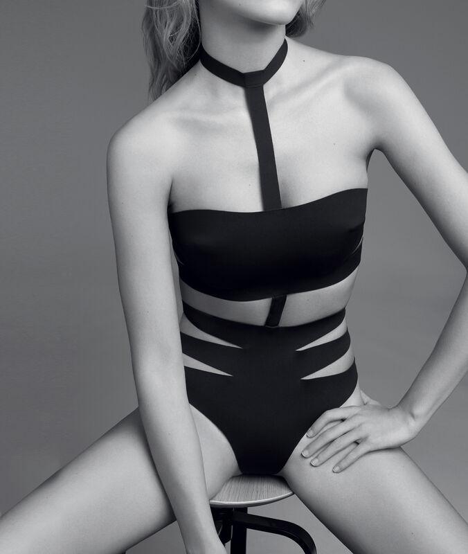 Body neopreen met banden zwart.