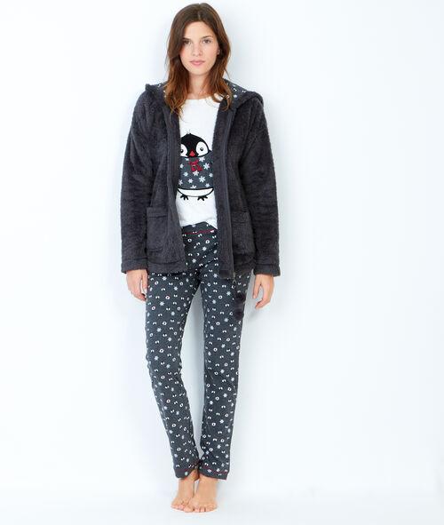 Pyjama 3 pièces, pantalon imprimé pingouin et veste toucher polaire