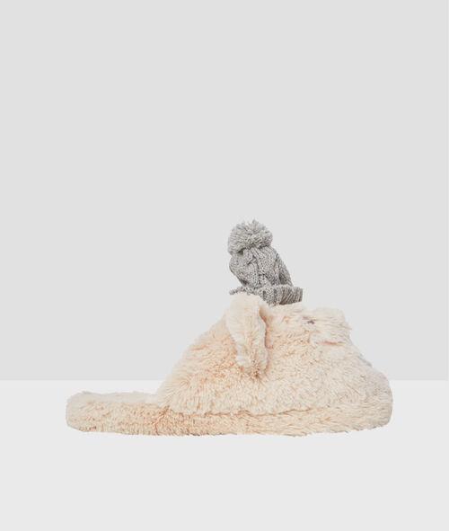 Mules oursons, bonnets tricotés 3D