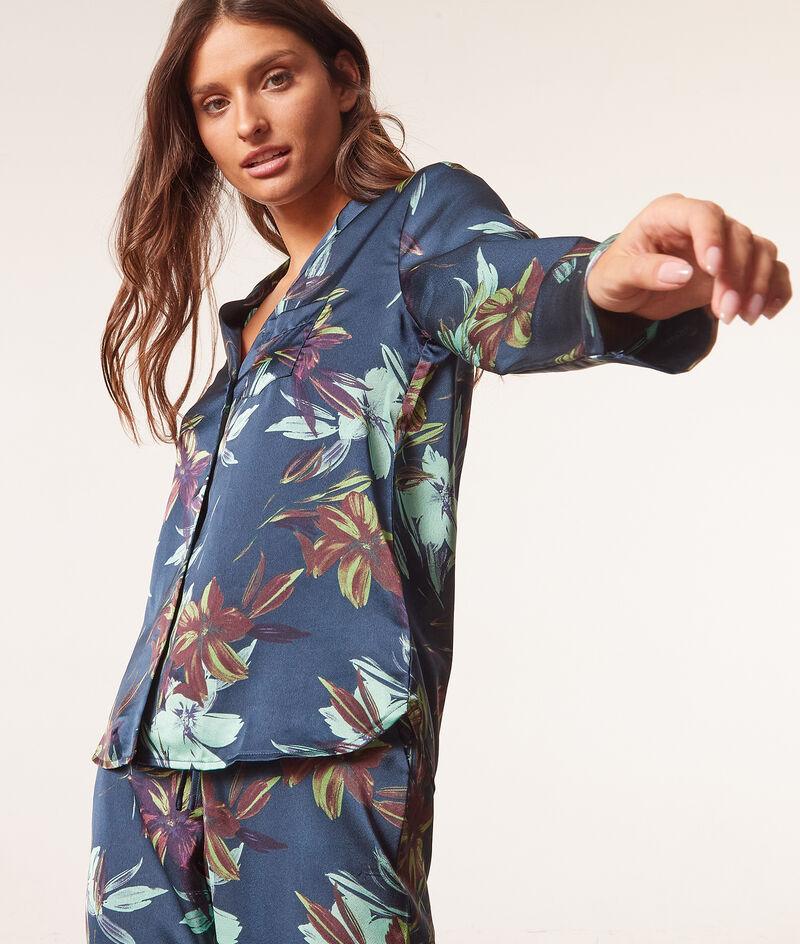 Gesatineerd pyjamahemd met print;${refinementColor}
