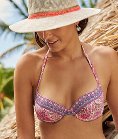 Haut de maillot de bain push-up multicolore.