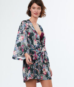 Kimono déshabillé satin imprimé kaki.