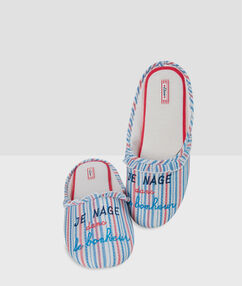 Pantoffels gestreept met tekst blauw.