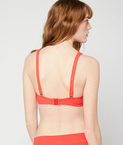 Haut de maillot de bain corbeille, détails œillets et liens