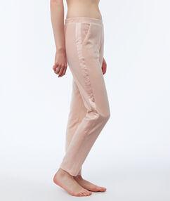Pantalon homewear fluweel satijnen band roze.