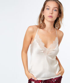 Top satin dentelle blanc.