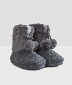 Chaussons bi-matière fourrés gris.