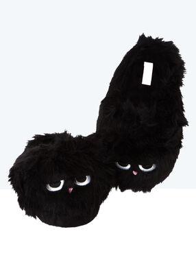 Mules 3d en imitation fourrure noir.