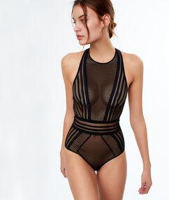 Body visnet stijl, zwemmersrug zwart.
