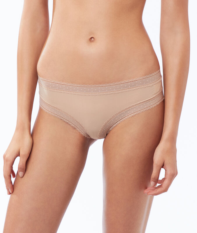Shorty en microfibre, bords dentelle peau.