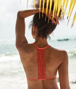 Haut de maillot de bain triangle, dos nageur corail.