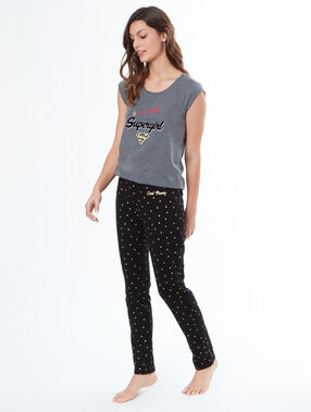 Pantalon imprimé étoiles noir.
