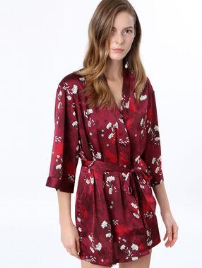 Déshabillé kimono satin imprimé bordeaux.