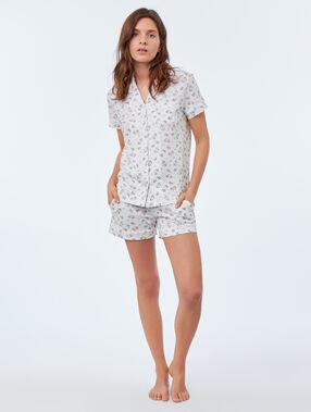Chemise de pyjama motifs licorne blanc.