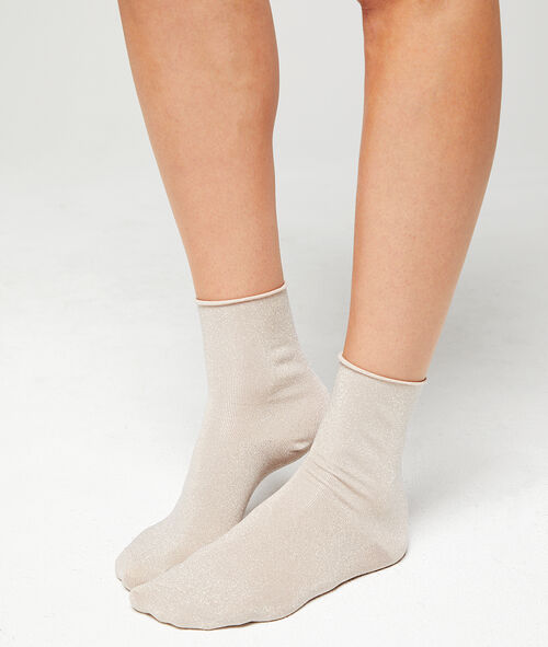 Korte sokjes met metallic weefseldetail
